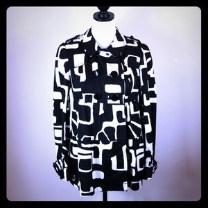 I.N.C. Black White Abstract Tailored Pea Coat Sz S